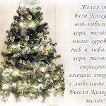 Желая ти бяла Коледа, с най-любимите хора, желая ти много здраве, за теб и любимите хора, желая ти страхотни емоции, споделени с любимите хора! Весела Коледа ти желая!
